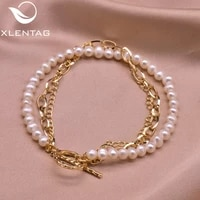 xlentag multi layer natural white pearls couple charm bracelet anime chain women party gift for girl boho luxury jewrlry gb0224
