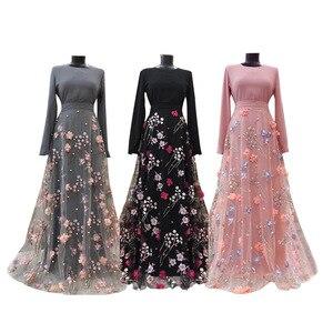 Woman Dress  Casual Fashion Elegant 3D Floral  Full  Floor-Length A-Line O-Neck  Empire Muslim Fashion Abaya Dubai Abaya Turkey