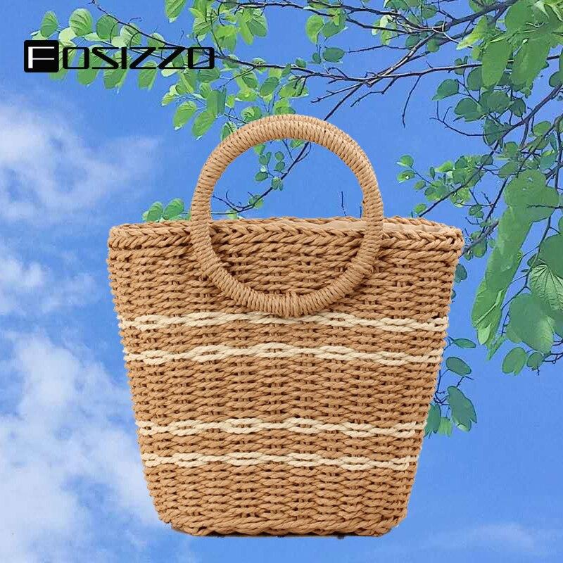 FOSIZZO, bolso de ratán para mujer, moda 2020, hecho a mano, redondo, rafia, círculo, bolsas de ratán, cesta informal Bohemia, bolso de verano FS5118