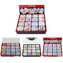 Mini caja de lata de Metal portátil, Impresión de diseño múltiple, Mac, maquillaje, joyería, Pastillero con tapa, caja de embalaje de regalo, 12 unids/lote