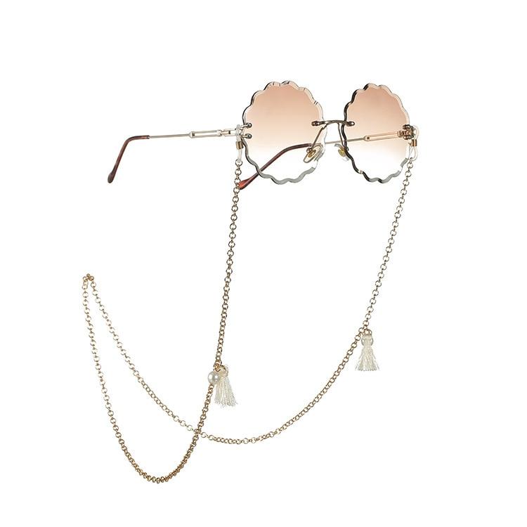 Bohemian Pearl Bead Tassel Women Reading Glasses Chain Sunglasses Spectacles Holder Neck Strap  Metal Rope Chain landyard