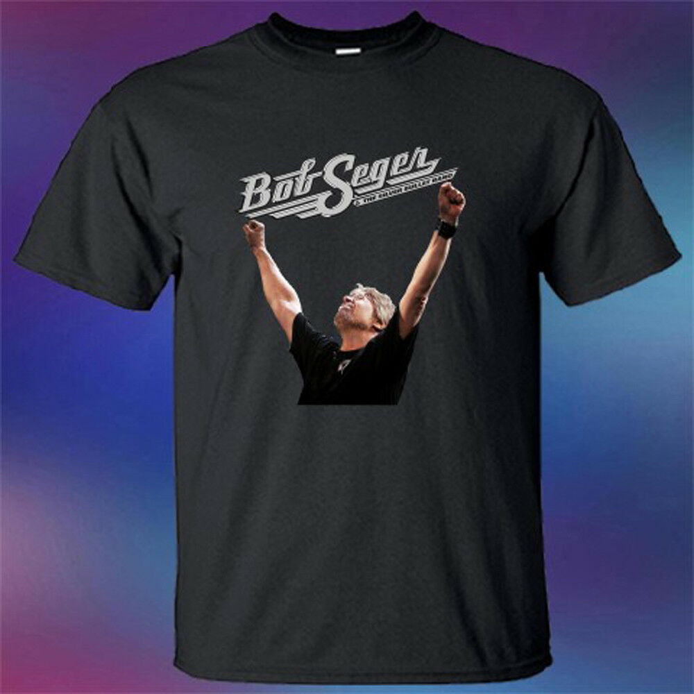 Nuevo Bob Seger Runaway Tour logotipo famoso músico Mens negro camiseta tamaño S 3Xl