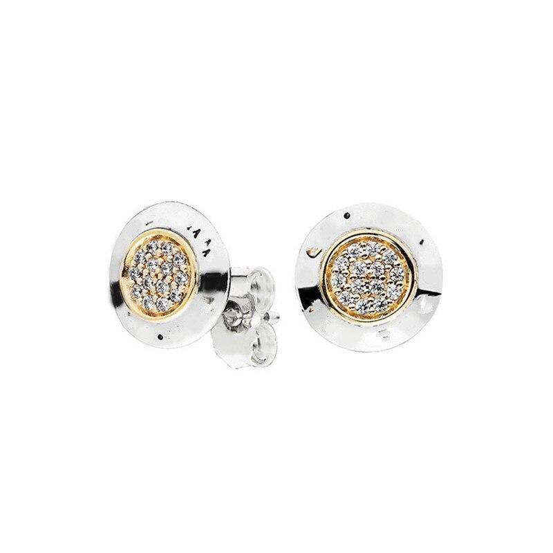 Женские серьги с круглым цирконием Pan home, классические серьги из стерлингового серебра 925 пробы с логотипом, модные серьги