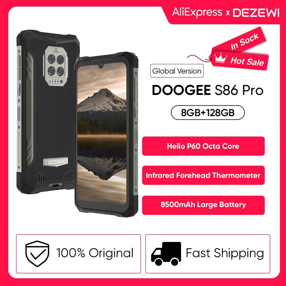 Перейти на Алиэкспресс и купить DOOGEE S86 Pro глобальная версия 8500 мАч супер Батарея 8 ГБ 128 Встроенная память инфракрасный ЛОБНЫЙ термометр смартфон Helio P60 Octa Core