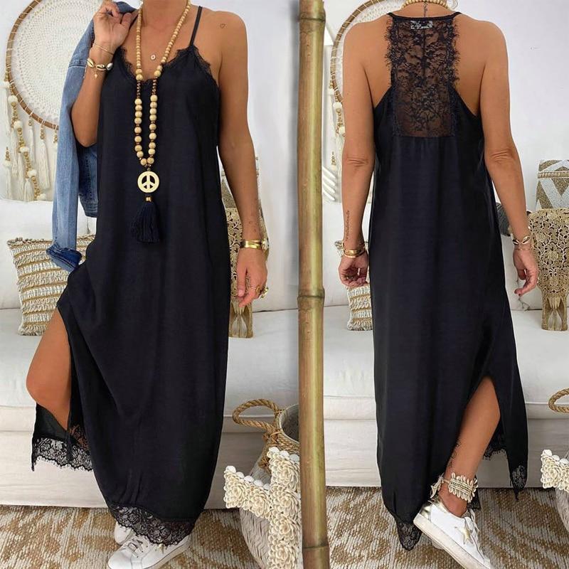 Sexy Black Lace Patchwork Strap Maxi Dress V Neck Sleeveless Side Split Women Summer Dresses Casual
