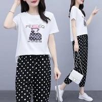 l 5xl 2020 summer new large size fashion printing polka dot nine point pants suit two piece set xxxxxl