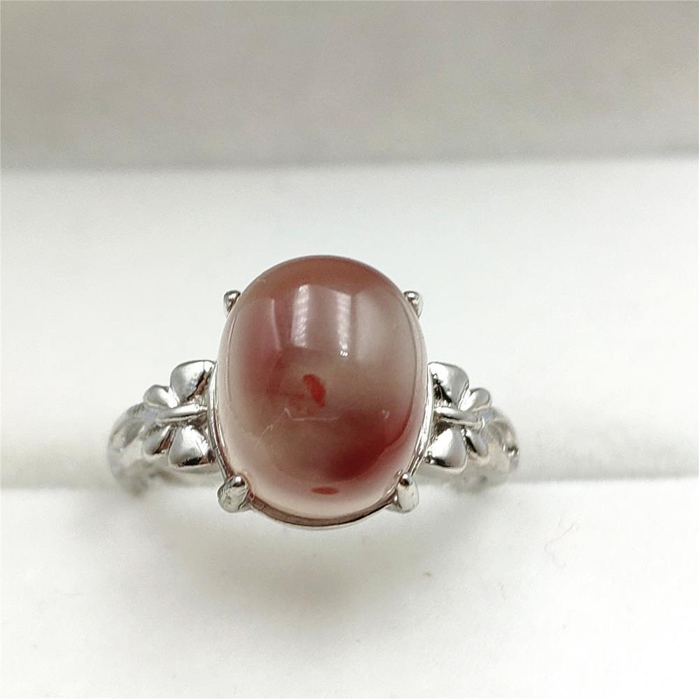 Anel ajustável genuíno natural sul vermelho ágata grânulo para a mulher 925 prata esterlina aaaaa 12x10mm luxo jóias de cristal anel