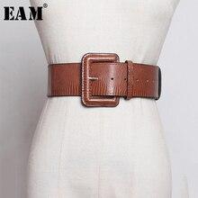 [EAM] cinturón ancho de piel sintética con hebilla cuadrada y agujeros para mujer, nueva tendencia de moda que combina con todo, primavera y otoño, 1A252, 2021