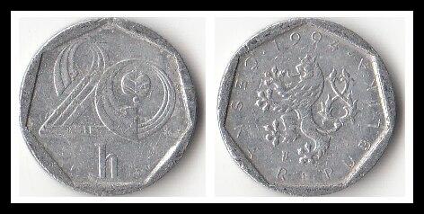 República checa 20 moedas haleru edição antiga moeda europeia original