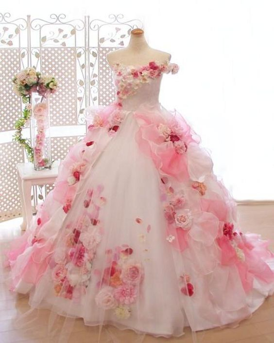 3 D Floral Flower Girl Dresses Hand Made Princess Girls Ball Gowns Flowers Little Girl Dresses Vintage Child Party Pageant Gown