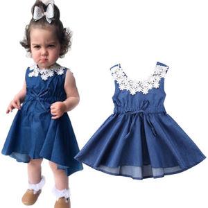 Прямая поставка; платье принцессы для маленьких девочек; праздничное джинсовое платье; пышный кружевной сарафан; одежда
