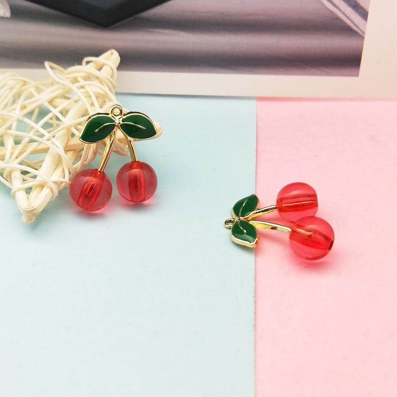 10 Uds encantos de cereza esmaltados a la moda colgantes de cereza de cristal de fruta de Metal pendientes colgantes para fabricación de joyería DIY flotante 23*28MM