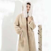 Réel Manteau de fourrure femmes mouton cisaillement hiver Manteau femmes réel renard col de fourrure veste femmes vêtements 2020 Manteau Femme F808 YY1025