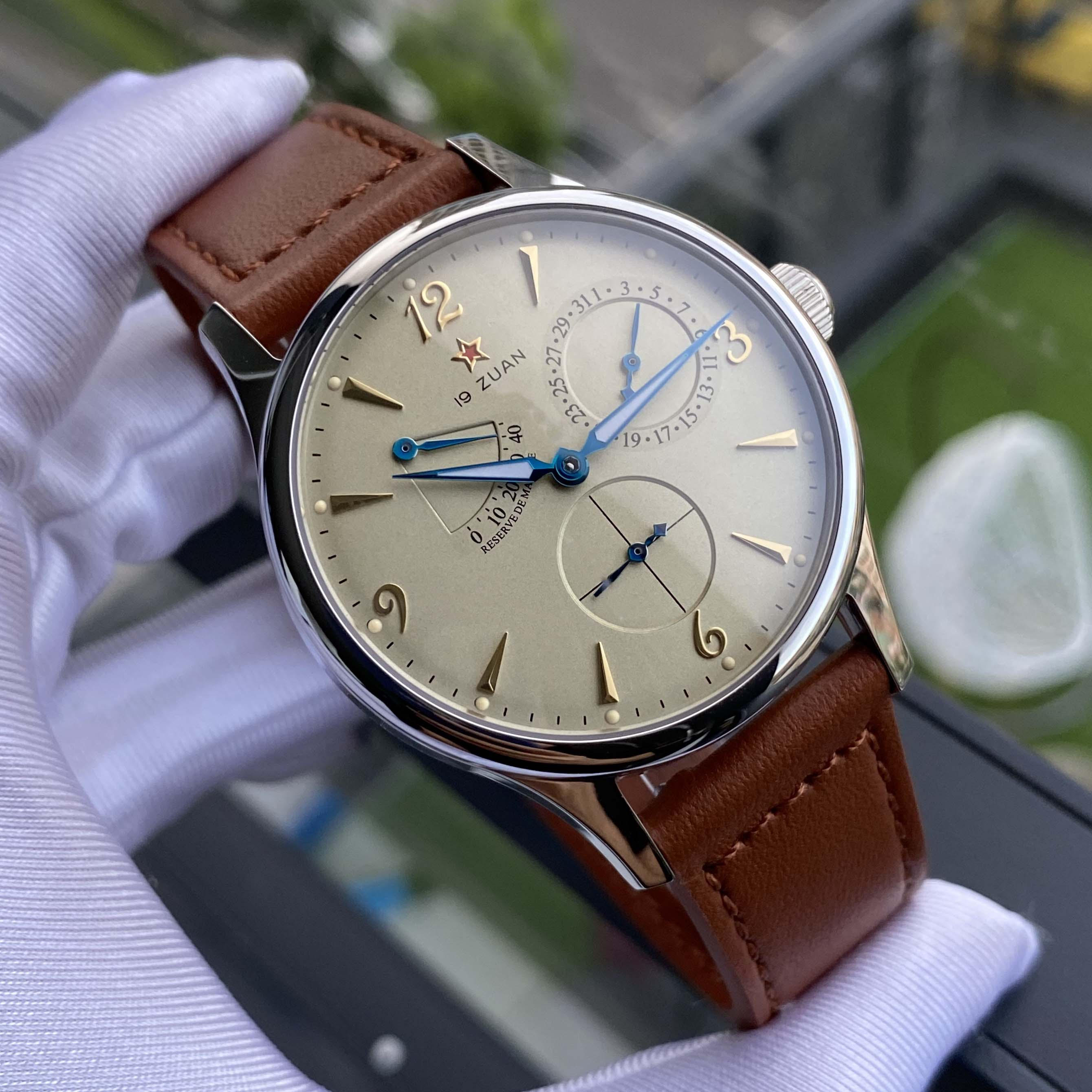 New 1963 pilot men automatic watch military wristwatch multifunction watches genuIne leather NATO ST