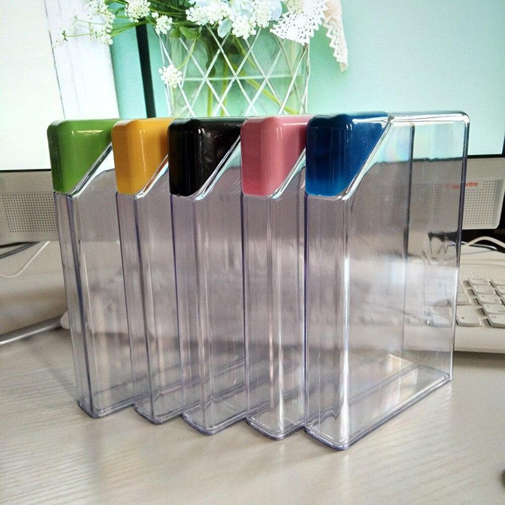 Botella de agua de plástico transparente, almohadilla de papel portátil para libro, botella de agua plana, hervidor de bebidas, viaje, camping, exteriores, herramienta portátil