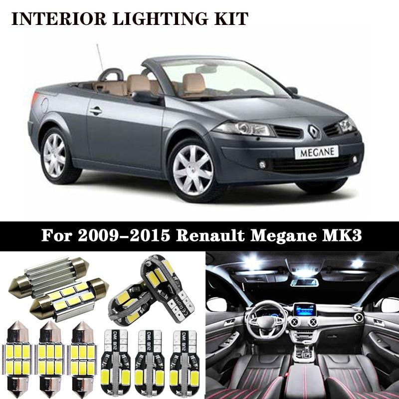 Bombilla LED de 100% x sin errores para Renault Megane III 3 MK3, de 2009 a 2015, para Interior de coche, domo, luz para maletero, 14 unidades