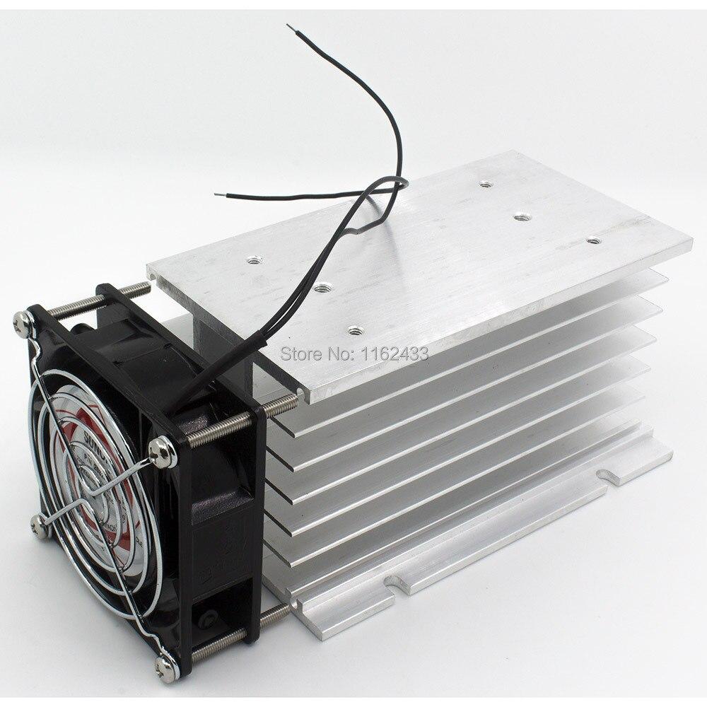 Radiateur dissipateur thermique en aluminium SSR   150*100*80mm 80A, relais à état solide triphasé avec ventilateur 220VAC et couvercle de protection * 80 mm