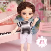 16cm bjd doll 3d eyes 13 joints movable 25 styles mini cute clothes suit accessories nude fashion dress up toys for girls gift