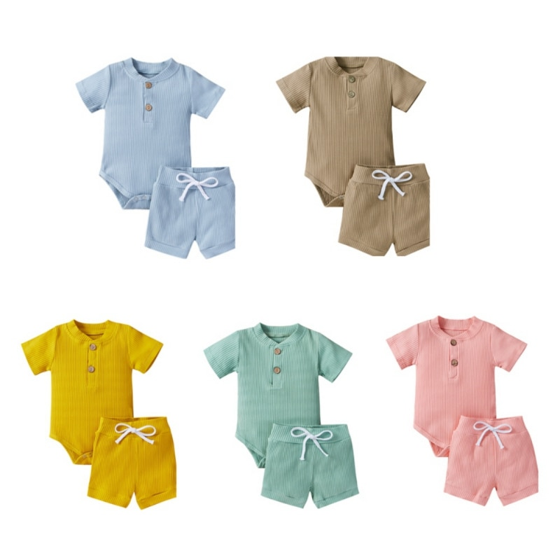 2Pcs Fashion Newborn Baby Girl Clothes Short-Sleeved Striped Jumpsuit Tops+Causal Comfortabl Shorts Baby Clothing Outfits 0-12M