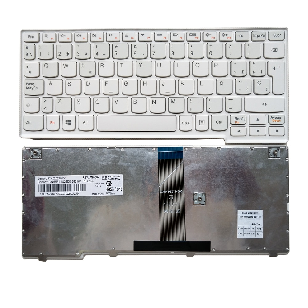 Teclado de ordenador portátil español OVY SP de buena calidad para LENOVO S110 S206 p/n 25206972 MP-11G26D0-6861W