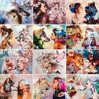 GATYZTORY 60x75cm Cadre PEINTURE A LA MAIN Par Numeros Femme Et Animaux Peinture A Lhuile Peinte A La Main de Toile Coloration Decoration De La Maison