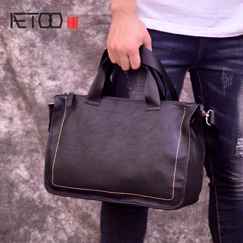 AETOO Leather handbag, mens soft leather oblique cross bag, casual head one-shoulder briefcase