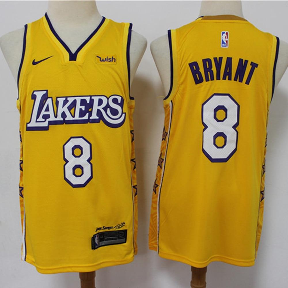 NBA hommes Los Angeles Lakers #8 maillot de basket carrière mémorial noir Mamba Kobe Bryant Vintage maillots sport Swingman maillot