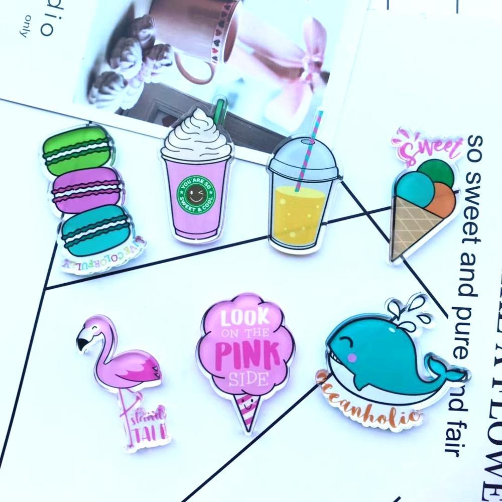 New transparent acrylic patch Flamingo macaron juice high quality flat back resin decorative accessories charms diy