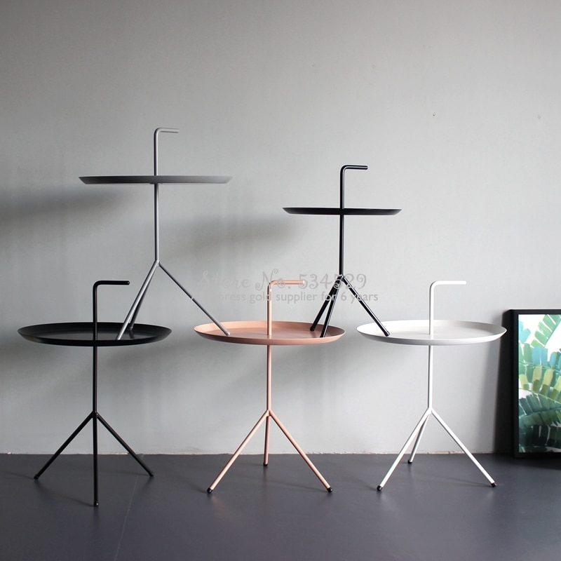 Pajilla de Metal para sala de estar, mesa de centro pequeña redonda,...