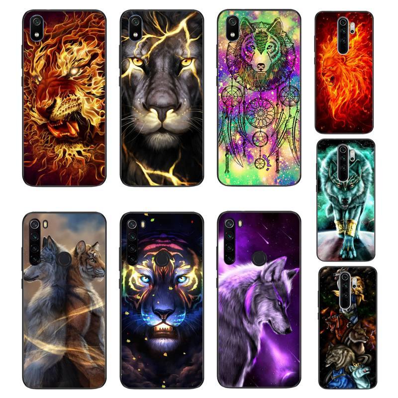 Funda de teléfono de goma suave TPU negra con Lobo y Animal Babaite para Xiaomi Redmi 4X 5A 6A 6 7 8 S2 5Plus note 5 5A 8Pro 8T