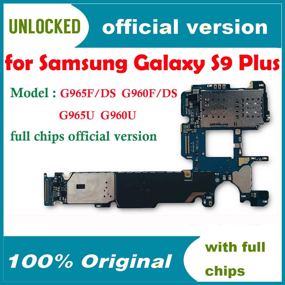Placa base de desbloqueo 100% Original para Samsung Galaxy S9 PLUS G965F G960F instalar AOS placa lógica con Chip 6GB RAM 64GB ROM