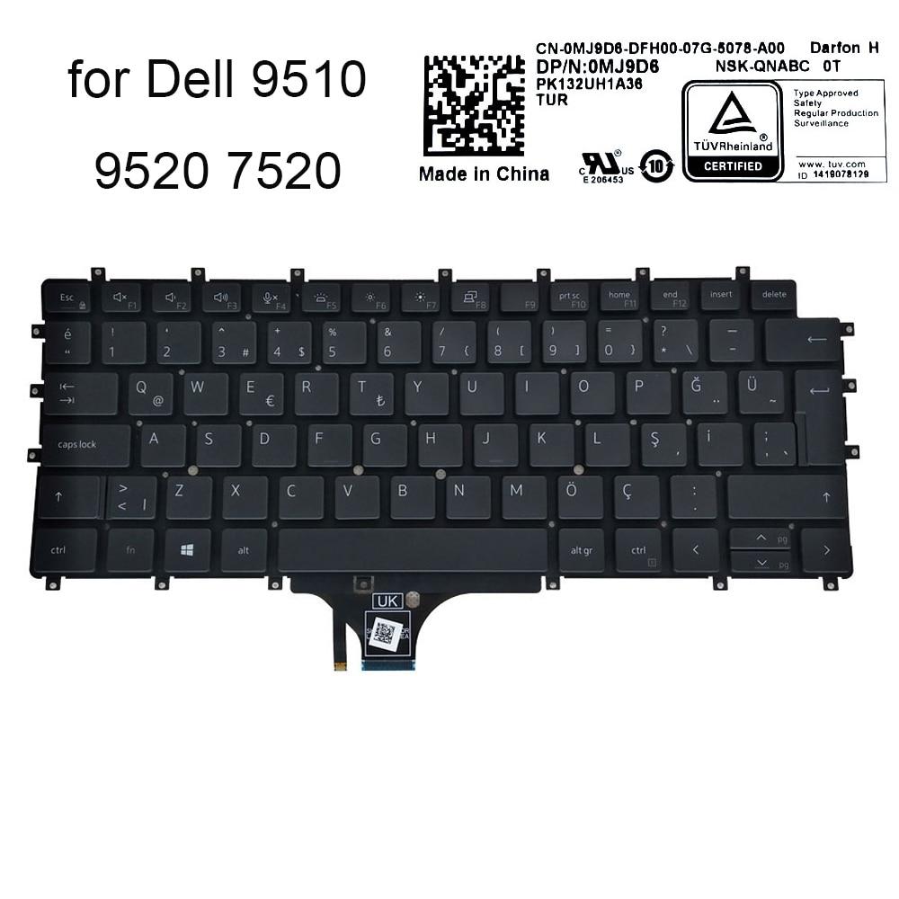 Turkey keyboard backlight for Dell Latitude 7520 9520 9510 2 in 1 0MJ9D8 TR turkish laptop keyboards backlit sale PK132UH1A36