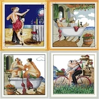 enjoy life series tango lovers stamped and counted cross stitch pattern kits dmc printed embroidery needlework sets