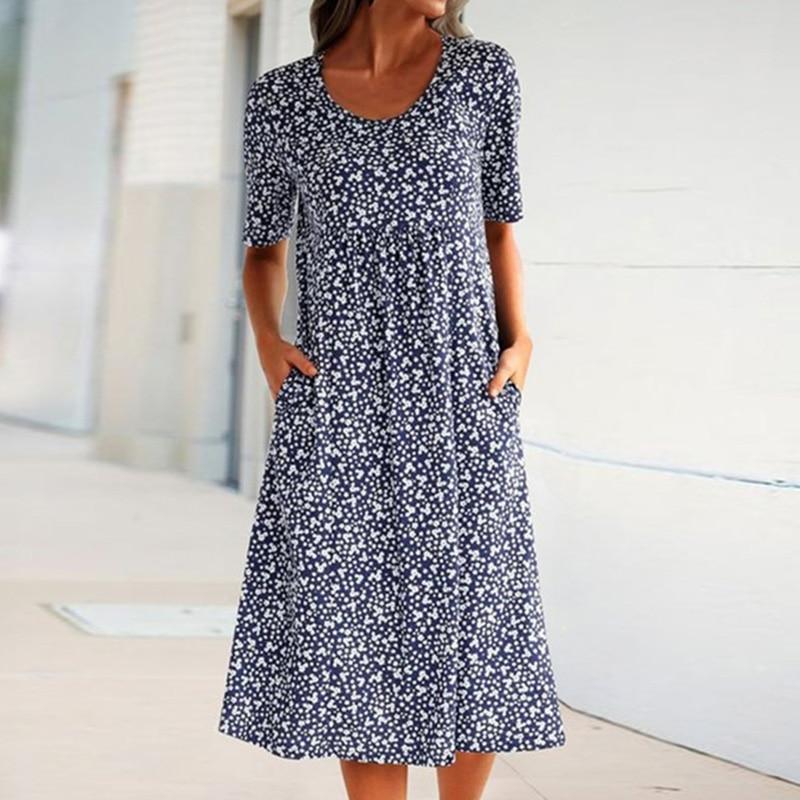 AliExpress - New Casual Dress Women Flower Print Dresses Maxi O-Neck Pocket Short Sleeve Holiday Bohemian Dress Plus Size 5XL