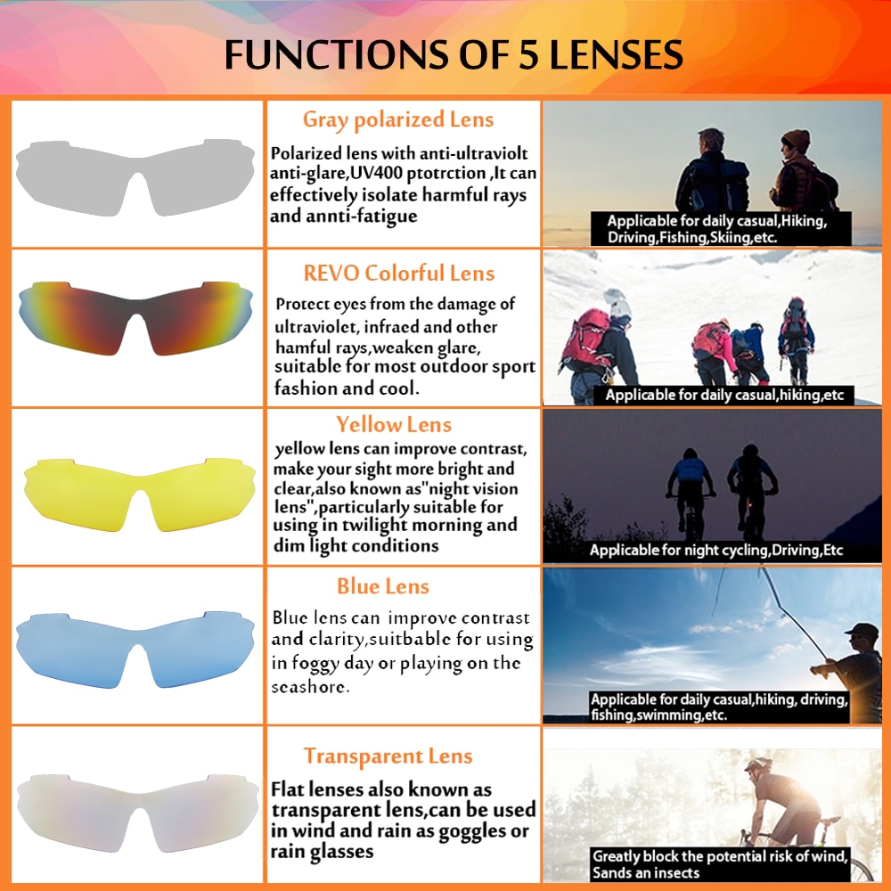 UV With 5 Len Professional Polarized Bicycle Glasses Outdoor Sports Sunglasses Bike Goggles Cycling Eyewear For Men Women Unisex enlarge