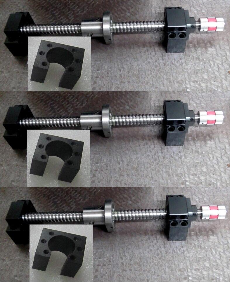 Parafuso de esfera 1605 c7 bk/bf12 8*10mm acopladores porca parafuso bloqueio bloco guider linear hgh20 stepper suporte do motor para 3020 3040