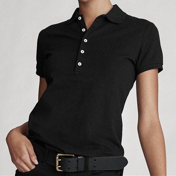 Alta qualidade pequeno cavalo polos mujer polo camisa das mulheres usar chemise femme topo hort manga camisas 100% algodão