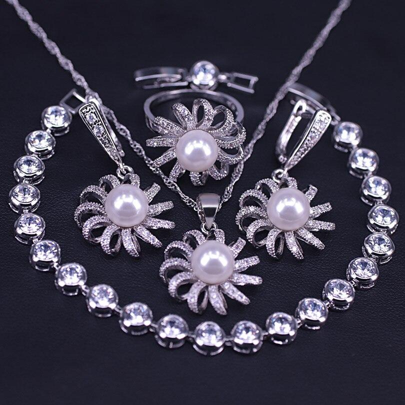 Verão refrescante branco pérola prata cor jóias conjunto brincos colar anel terno saia selvagem daisy conjunto de jóias