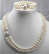 2016 dos hilos 9-10mm Mar Australiano del Sur blanco perla collar pulsera