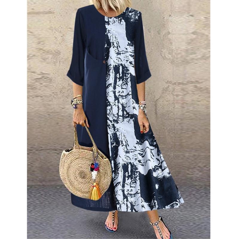 Women Boho Linen Baggy Gypsy Kaftan Holiday Loose Long Maxi Dress Fashion Ladies Floral Beach Dress Sundress