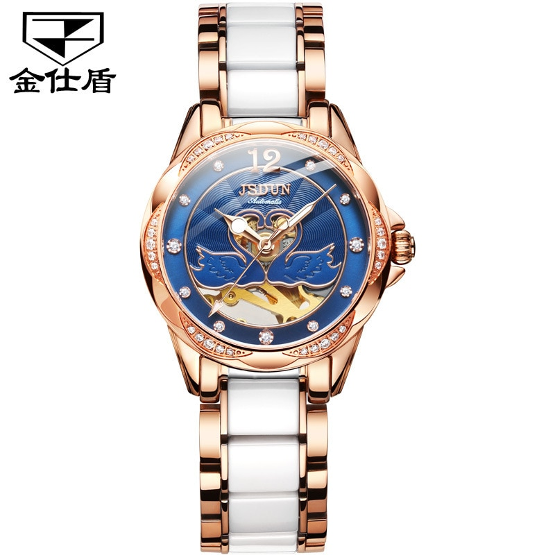 Watch Fashion Diamond Hollow Watch, Ceramic Mechanical Watch, Waterproof Watch Women's Watch enlarge