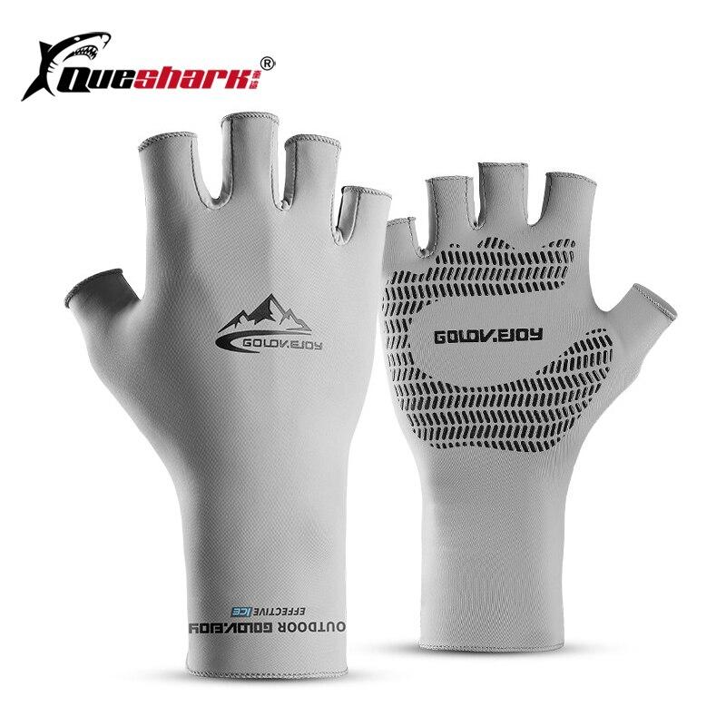 Men Summer Ice Silk Fishing Gloves Outdoor UPF50+ Quick Dry Anti-slip Cycling Climbing Angling Half Finger Gloves