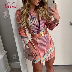 Aselnn цветное Полосатое платье - блейзер с длинным рукавом и отложным воротником, тонкое мини- платье , женское элегантное платье Vestidos