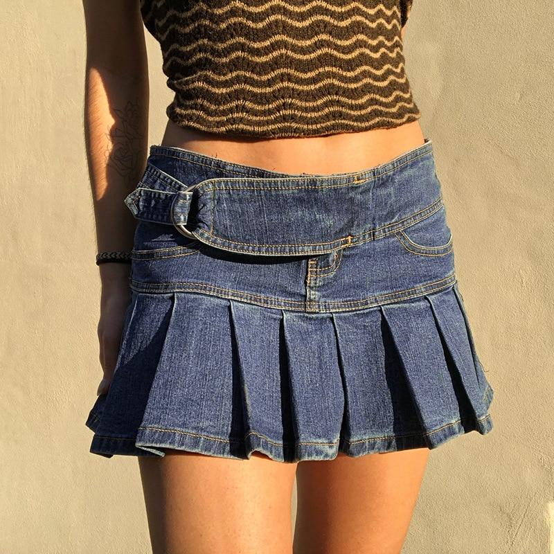 2021 summer new short skirt d-button lace up splicing high waist washed retro denim pleated skirt go
