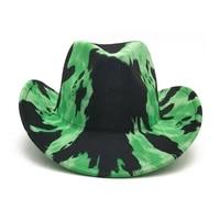 light board cowboy hat autumn winter hats western cowboy hat watermelon pattern jazz hat sombrero cowgirl outdoor felt hat