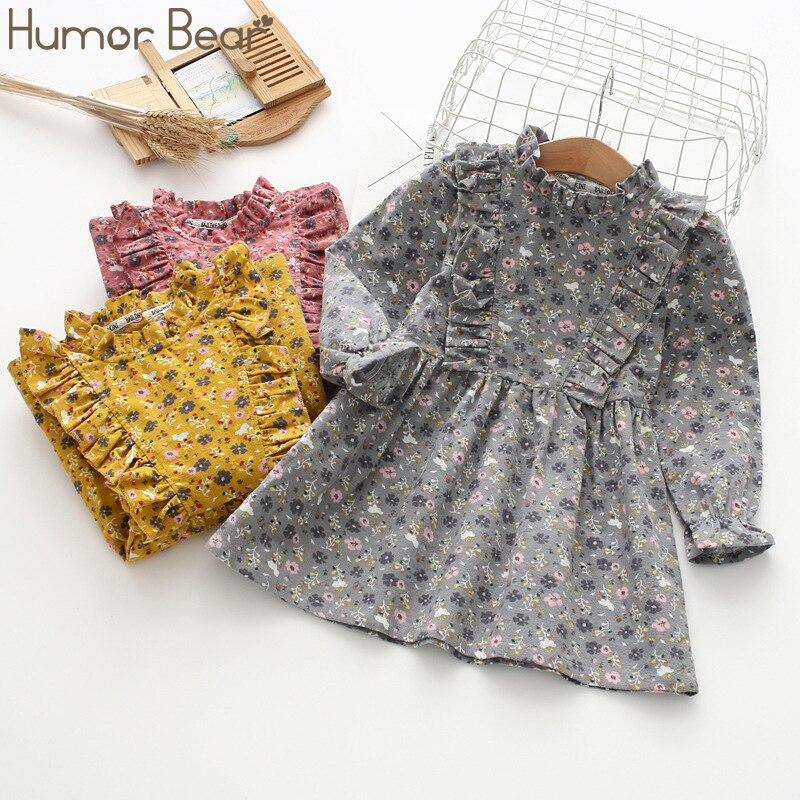 Humor Bear 2019 primavera otoño niñas vestido de princesa ropa de algodón para niños estampada por completo flor infantil Vestido de manga larga para niñas