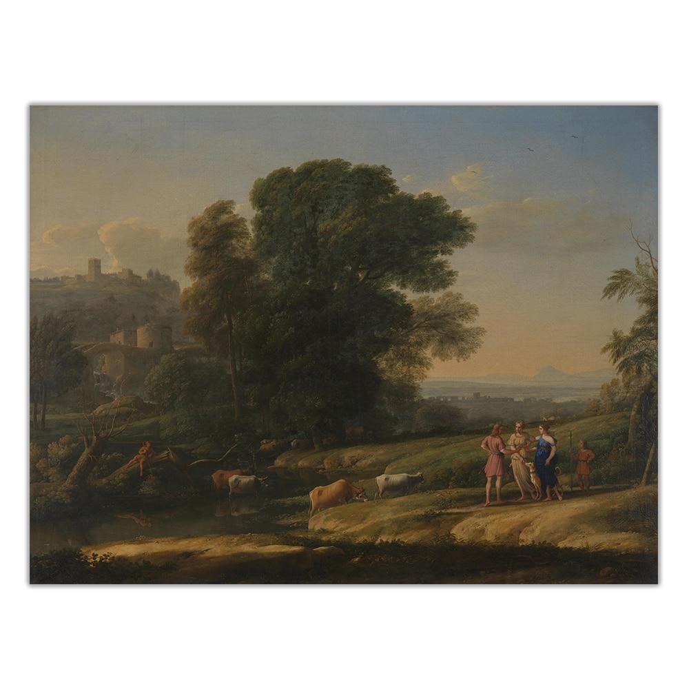 Citon Claude Lorrain《Landscape with Cephalus and Procris reunited by Diana》Canvas Oil Painting Art Picture Decor Home Decoration