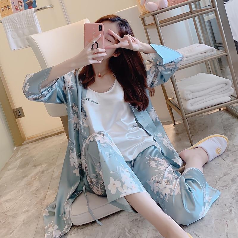 2019 primavera outono feminino 3 peças pijamas conjuntos de pijamas de seda flor impressão pijamas de cetim pijamas finos pijamas de casa