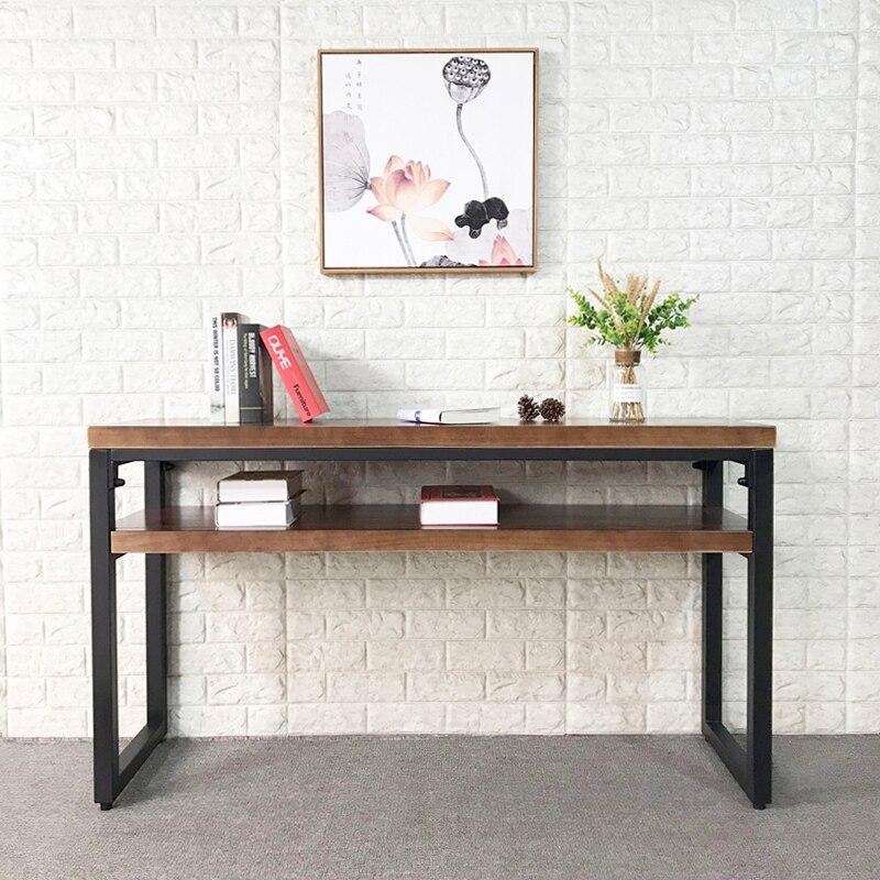 خشب متين طاولة وحدة التحكم النمط الصناعي النمط الأمريكي بسيط الرجعية القديمة جدار طويل ضيق مكتب 40 سنتيمتر الحديد المطاوع مكتب