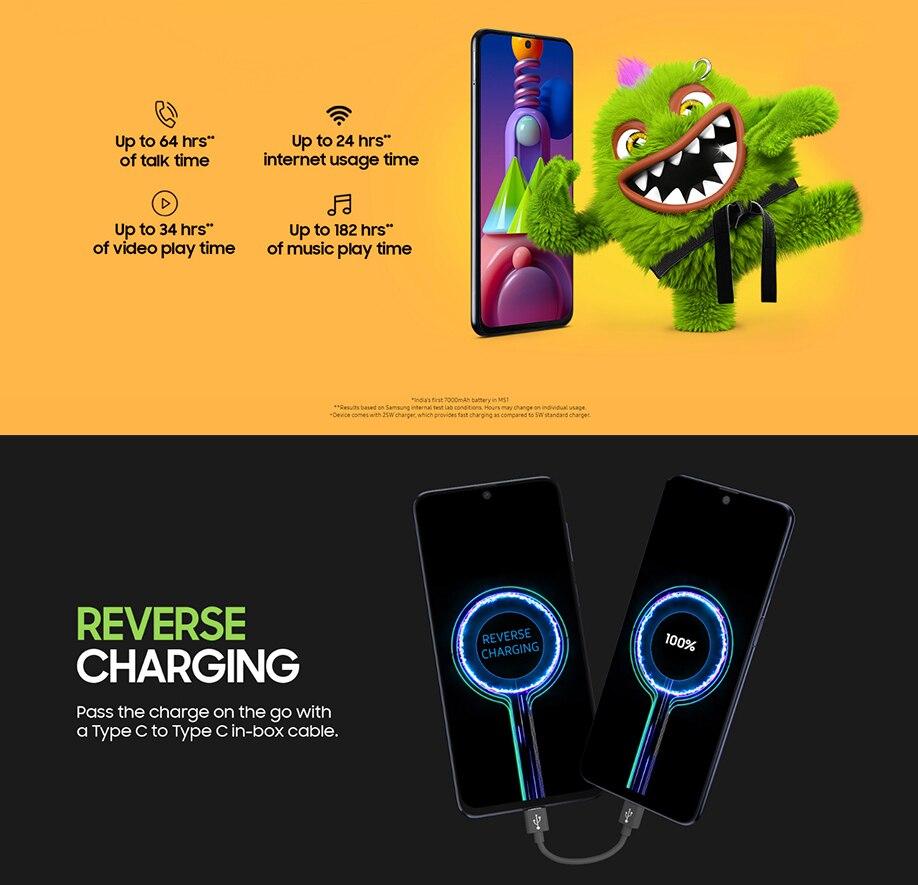Фото2 - Смартфон Samsung Galaxy M51 M515F, 128 ГБ ОЗУ 8 Гб ПЗУ, 6,7 дюйма, 7000 мАч, NFC, Snapdragon 730G